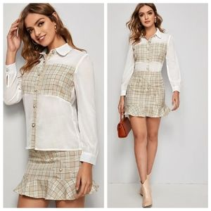 Button front contrast plaid blouse&rufflehem skirt